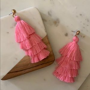 BOGO! Pink Layered Tassel Earrings